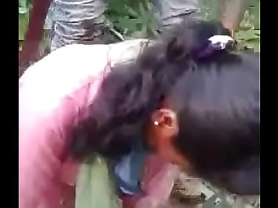 Desi gangbanged in jungle