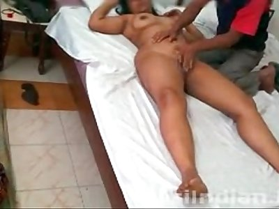 Lucky Indian Villager Giving Massage To Hot Jaya