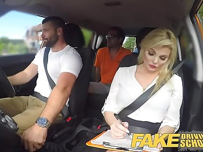 Fake Driving School Sexy busty posh blonde examiner sucks and fucks in car